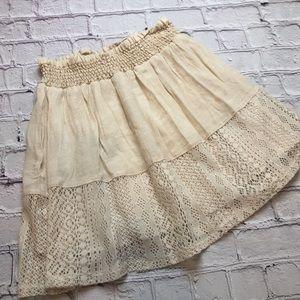 Ivory gauze lacy Joe B mini skirt size XSmall